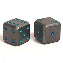 Flytanium Large Cuboid Titanium with Teal Pips Dice, 2-Pack, Stonewashed