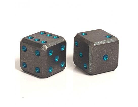 Flytanium Large Cuboid Titanium with Teal Pips Dice, 2-Pack, Stonewashed