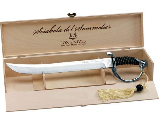 Fox Sciabola del Sommelier Champagne Saber Sword 16 inch Unsharpened Blade, Wooden Presentation Box, Black Stand