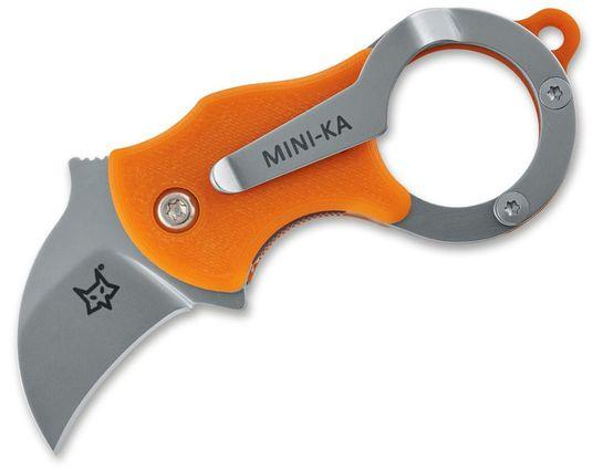 Fox FX-535O Mini-Ka Folding Karambit 1 inch Bead Blast Blade, Orange FRN Handles