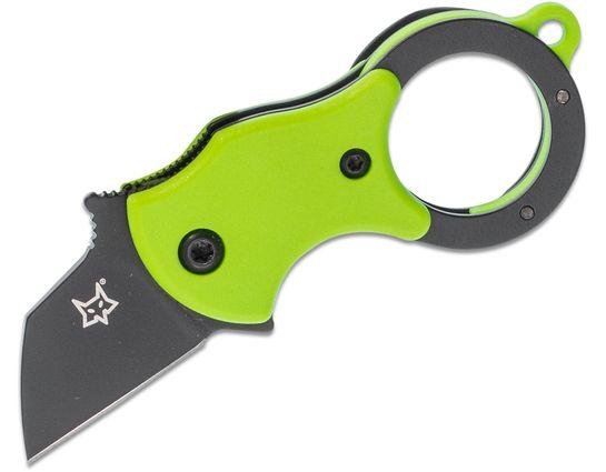 Fox FX-536 GB Mini-TA Folding Karambit Knife 1 inch Black Blade, Green FRN Handles