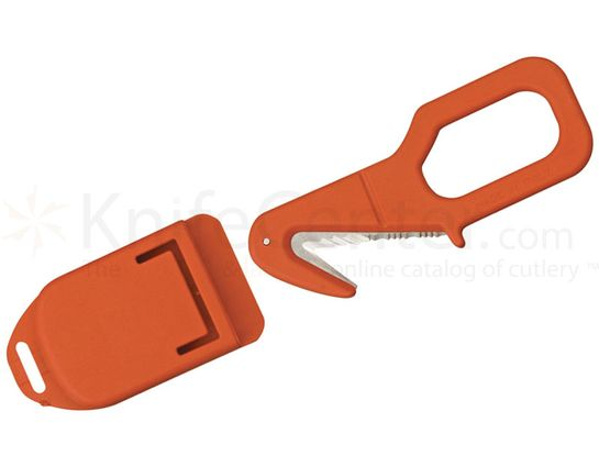Fox Rescue Emergency Tool 2 inch Serrated Blade, Red Kydex Handle and Sheath
