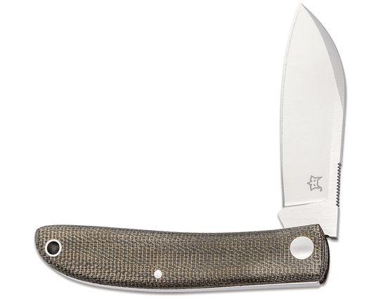 Fox FX-273 Livri Slipjoint Folding Knife 2.75 inch M390 Satin Plain Blade, Green Micarta Handles, Black Leather Pouch