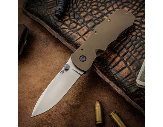 Aaron Frederick Custom SX-1 Slim Folding Knife 3 inch CPM-154 Stonewashed Blade, Bronze Titanium Handles
