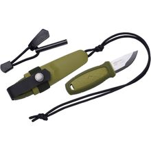 Morakniv Eldris Pocket-Size Neck Knife Kit Fixed 2.2 inch 12C27 Blade, Fire Starter, Paracord, Green Polypropylene Handle