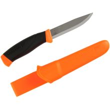 Morakniv Mora of Sweden Orange Companion Knife 4 inch Stainless Steel Blade, Rubber Handle, Polymer Sheath