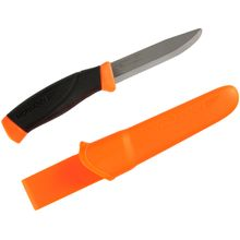 Morakniv Mora of Sweden Orange Rescue Companion Knife 4 inch Stainless Steel Combo Blade, Rubber Handle, Polymer Sheath