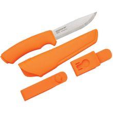 Morakniv Mora of Sweden Orange Bushcraft Knife 4.3 inch Stainless Steel Blade, Orange Rubber Handle