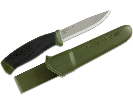Morakniv Mora of Sweden Military Green Companion Knife 4.1 inch Stainless Steel Blade, Black Rubber Handle
