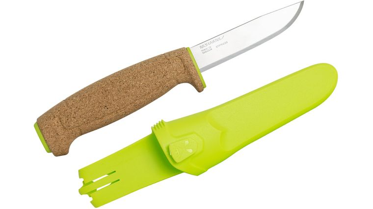 Morakniv Mora of Sweden Floating Knife Fixed 3.75 inch Polished Blade, Cork Handle, Lime Green Polymer Sheath