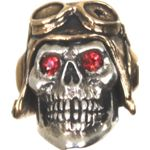 GD Skulls USA SP5-1 Small Pilot 2 Skull with Bejeweled Eyes