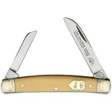 German Eye Brand Two-Blade Congress 3.38 inch Closed, Yellow Celluloid Handles