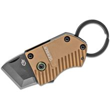 Gerber Key Note Keyring Flipper Knife, Black Tanto Blade, Brown Aluminum Handles