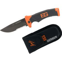Gerber 31-000752 Bear Grylls Folding Sheath Knife 3.6 inch Combo Blade, Rubber Grip Handles