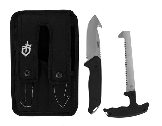 Gerber Moment Hunting Kit 2 Fixed Saw and Guthook Knife, Nylon Sheath