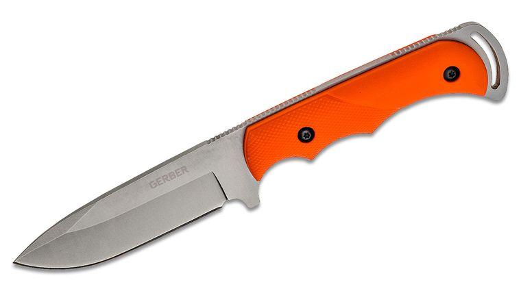 Gerber Freeman Guide Hunting Knife Fixed 4 inch Bead Blast Plain Blade, Orange TacHide Handles, Nylon Sheath