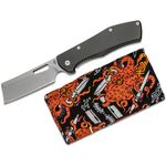 Gerber FlatIron Cleaver Folding Knife Set 3.8 inch Stonewashed Plain Blade, Black Aluminum w/ Stonewashed Stainless Steel Back Handles, Octopus Gear Rag
