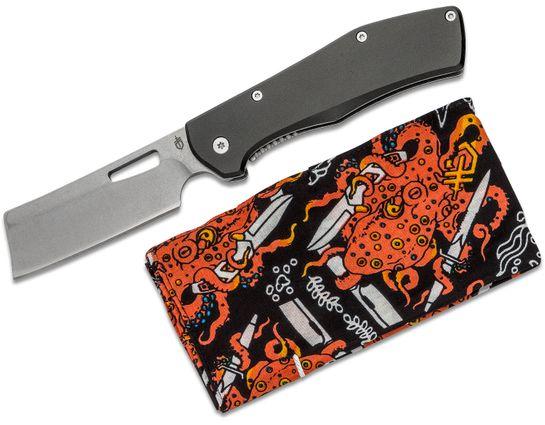 Gerber FlatIron Cleaver Folding Knife Set 3.8 inch Stonewashed Plain Blade, Black Aluminum w/ Stonewashed Stainless Steel Back Handles, Octopus Gear Rag