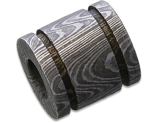 Grindworx Damascus Steel Bisect Double Groove Bead