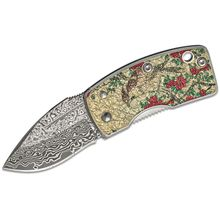 G. Sakai Money Clip Folding Knife 1.61 inch Damascus Blade, Stainless Steel Handles with Camellia Artwork