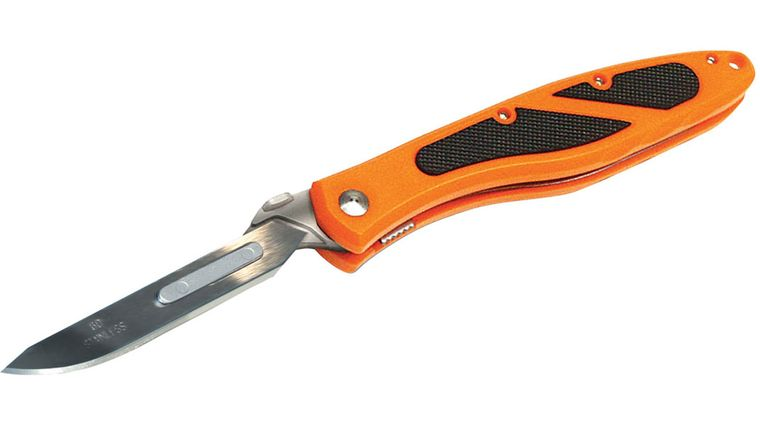 Havalon Piranta-Edge Skinning Knife 2-3/4 inch Replaceable Blade, Blaze Orange Handles