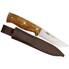 Helle Survivorman Temagami Knife 4-1/4 inch Stainless Steel Blade, Curly Birch Handle, Leather Sheath
