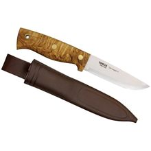Helle Survivorman Temagami Fixed 4-1/4 inch Carbon Steel Blade, Curly Birch Handle, Leather Sheath