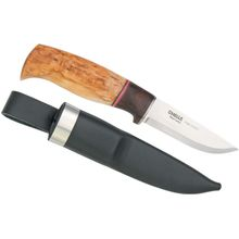Helle Harmoni Hunting Knife 3-1/2 inch Blade, Curly Birch and Walnut Handle, Leather Sheath