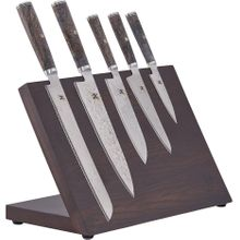 Zwilling J.A. Henckels Miyabi Black 5000MCD67 8 Piece Magnetic Block Set, Big Leaf Maple Burl Wood Handles