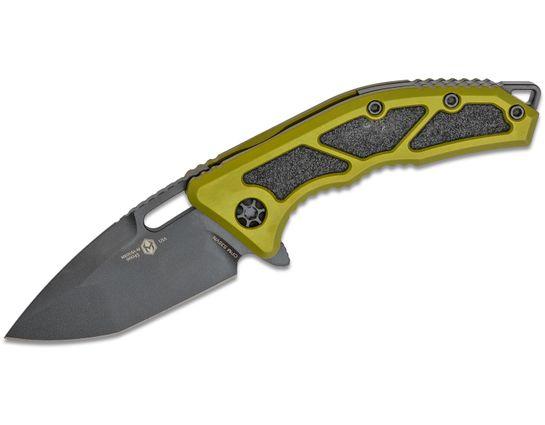 Heretic Knives Medusa Flipper Knife 3.05 inch S35VN Black Cerakote Tanto Blade, Green Aluminum Handles