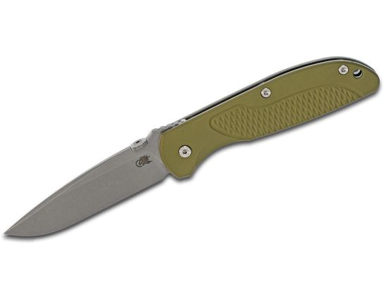Rick Hinderer Firetac Folding Knife 3.625 inch CPM-20CV Working Finish Spear Point Blade, OD Green G10 and Titanium Handles