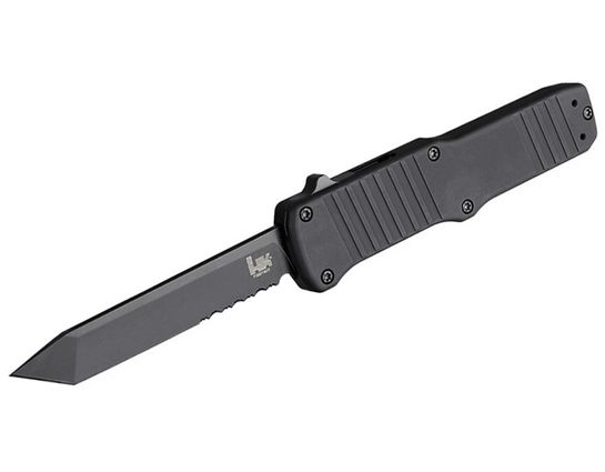 HK Knives by Hogue Hadron OTF AUTO Knife 3.375 inch 154CM Black Combo Tanto Blade, Black Aluminum Handles