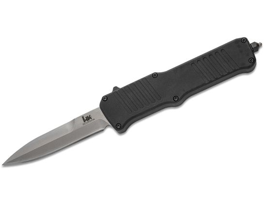 HK Knives by Hogue Incursion OTF AUTO Knife 3.9 inch 154CM Stonewashed Spear Point Blade, Black Aluminum Handles
