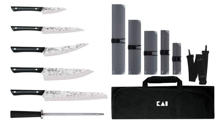 KAI PRO 7 Piece Culinary Set with Knife Roll, Hammered Blade, Black POM Handles