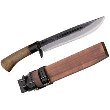 Kanetsune Waza Fixed 8.25 inch Damascus Blade, Oak Handle, Wooden Sheath
