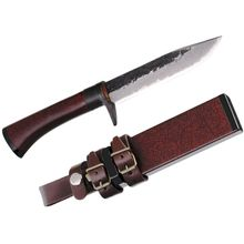 Kanetsune Irodori Fixed 5 inch Damascus Blade, Oak Handle with Red Lacquer Finish, Wooden Sheath