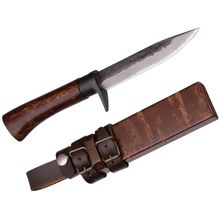 Kanetsune Sakura Fixed 5 inch Damascus Blade, Cherry Tree Skin and Oak Handle, Wooden Sheath