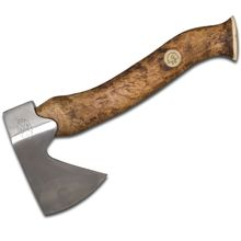 Karesuando Kniven Stoera Aksu Big Axe Hatchet 11.5 inch Overall, Brown Oiled Curly Birch Handle, Leather Sheath