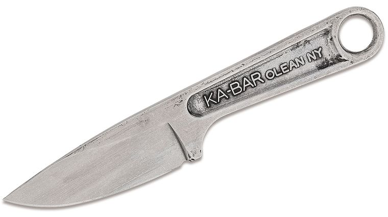 KA-BAR 1119 Wrench Neck Knife 3 inch 425 High Carbon Stainless Steel Blade, One-Piece Construction, Hard Plastic Sheath