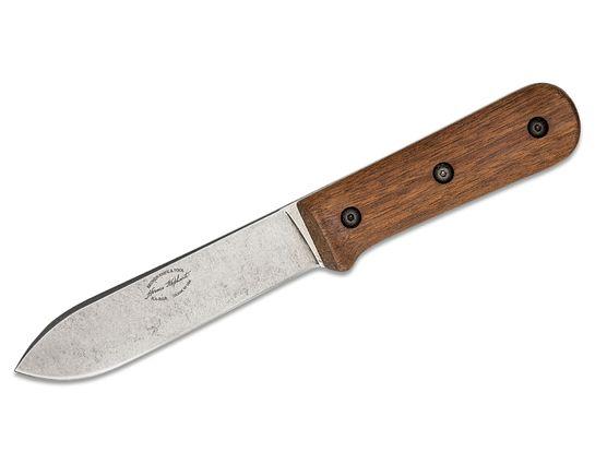 KA-BAR BK62 Becker Kephart Fixed Blade Knife 5.125 inch 1095 Stonewashed Spear Point, Walnut Wood Handles, LeatherSheath