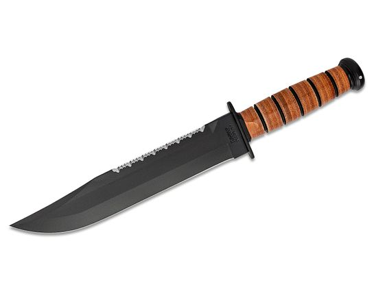 KA-BAR 2217 Big Brother Fighting / Utility Knife 9-3/8 inch Double Edge Plain and Serrated Blade, Leather Handles, Brown Leather Sheath