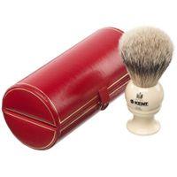Kent Brushes BK2 Handmade Traditional Medium Pure Gray Badger Shave Brush, Cream Handle, Red Presentation Case