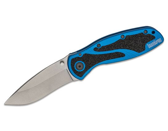 Kershaw 1670NBSW Blur Folding Knife Assisted Folding Knife 3.4 inch Stonewash Plain Blade, Blue Aluminum Handles