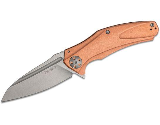 Kershaw 7008CU Natrix XL Flipper Knife 3.7 inch Stonewashed D2 Drop Point Blade, Copper Handles