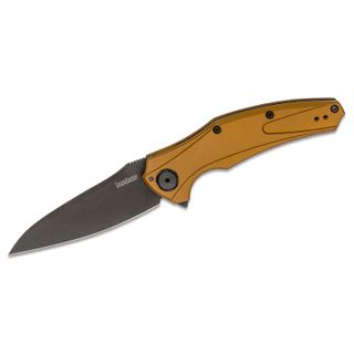 Kershaw 7777EBBLK Bareknuckle USA-Made Flipper Knife 3.5 inch CPM-20CV Black DLC Blade, Earth Brown Aluminum Handles - KnifeCenter Exclusive