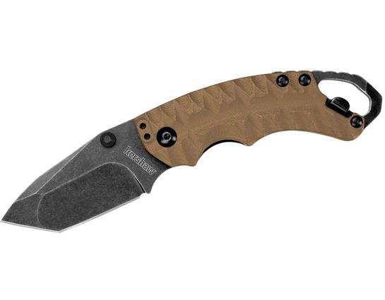 Kershaw 8750TANBW Shuffle II Multi- Function Folding Knife 2.25 inch Blackwash Plain Blade, Tan GFN Handles