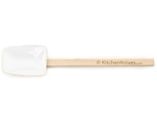 KitchenKnives.com Wooden Handle (White) Medium Silicone Spoonula