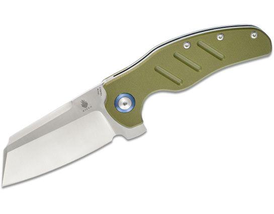Kizer Cutlery Vanguard Sheepdog XL C01C Flipper Knife 3.9 inch 154CM Satin Blade, Green G10 Handles