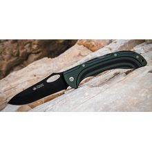 Kizlyar Supreme Dream 440C Folding Knife 4.1 inch Black Titanium Plain Blade, Black/Green Micarta Handles (KK0167)