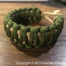 Klecker KLAX-PARA 8 inch Paracord Bracelet, Green and Tan